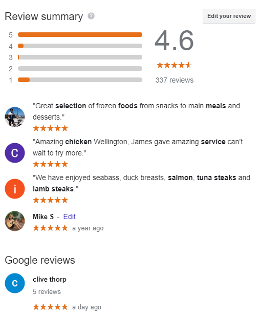 Google reviews Dining solutions direct